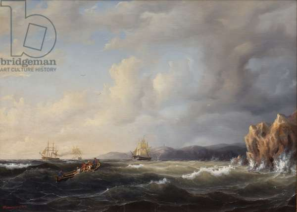 Bark Beating to Windward at Kullaberg, 1849 (oil on canvas)