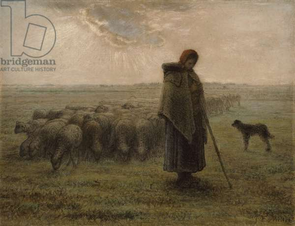 Shepherdess and Her Flock, 1862-63 (black chalk and pastel)