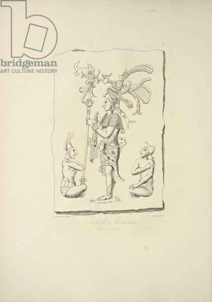 Mexican Relief Found at Oaxaca, illustration from 'Vues des Cordillères et Monumens des Peuples Indigènes de l'Amérique' by Alexander von Humboldt and Aime Bonpland, 1813 (engraving)