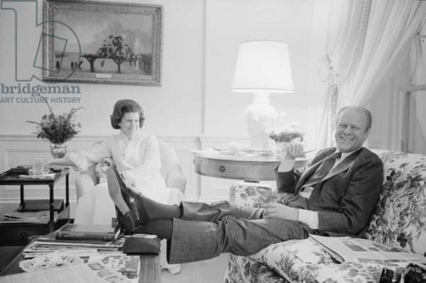 President Gerald Ford and First Lady Betty Ford in the living quarters of the White House, 1975 (b/w photo)