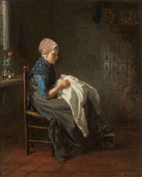 The Little Seamstress, 1850-88 (oil on canvas)