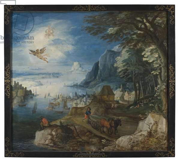 Landscape with the Fall of Icarus (oil on wood)