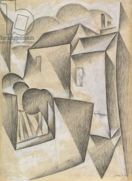 Houses in Paris, Place Ravignan, 1911 (black chalk and gouache on white laid paper)