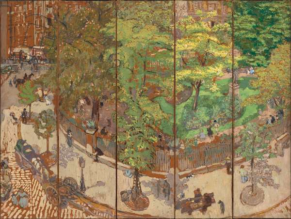 Place Vintimille, 1911 (five-panel screen, distemper on paper laid down on canvas)