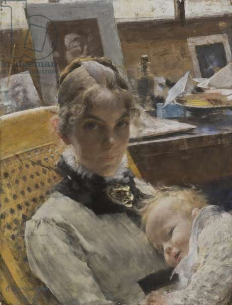 A Studio Idyll: The Artist's Wife and their Daughter Suzanne, 1885 (pastel)