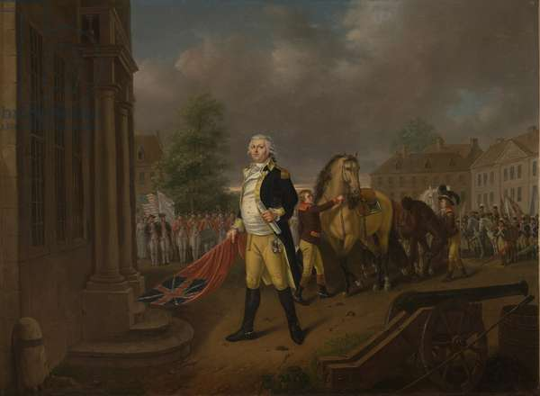 General Humphreys Delivering the Standards taken at Yorktown to Congress Hall, Philadelphia (oil on canvas)
