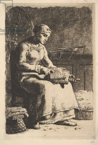 The Wool Carder, c.1850-59 (etching)