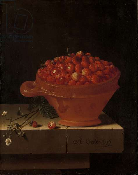 A Bowl of Strawberries on a Stone Plinth, 1696 (oil on panel)