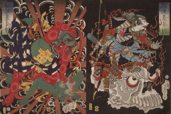 Warrior on Skull and Kintoki Overpowering a Demon, from the Series Valour in China and Japan, 1868 (colour woodblock print)