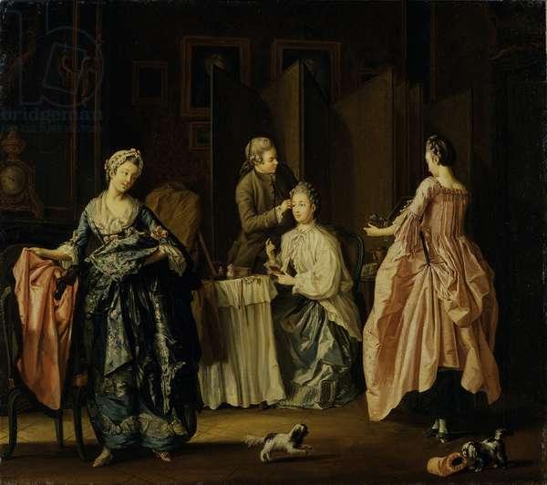 The Morning Toilet, Boudoir Scene (oil on canvas)