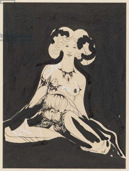 The Wait or Seated Woman, 1890-1909 (brush, pen and body paint)