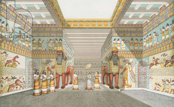 Hall in Assyrian palace (restored), 1849 (lithograph)