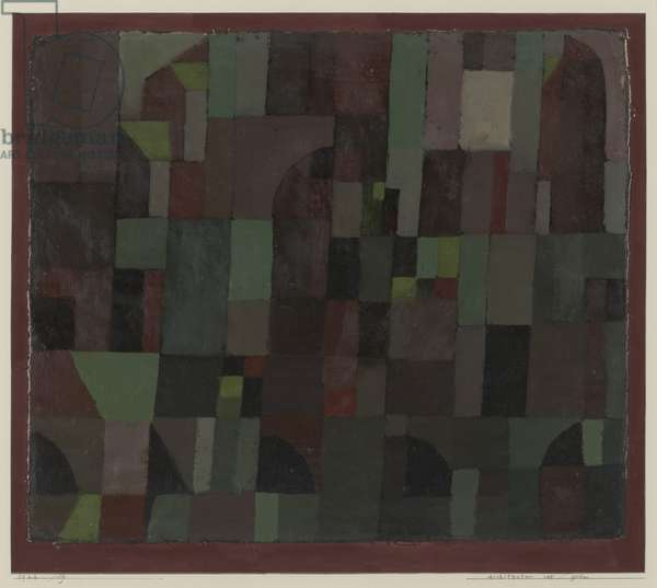 Red/Green Architecture (yellow/violet gradation), 1922 (Oil and watercolour on canvas, laid down on cardboard mat)