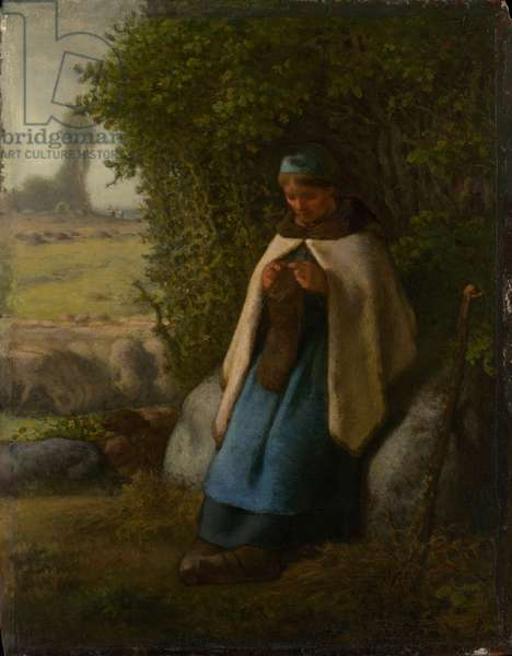 Shepherdess Seated on a Rock, 1856 (oil on wood)