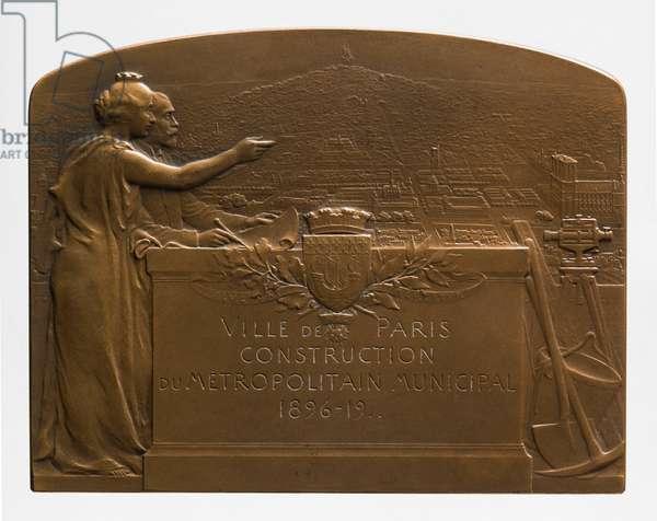 Medallion commemorating the construction of the métropolitain municipal de Paris, 1912 (metal)