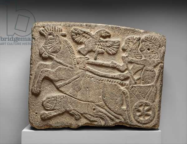 Orthostat relief:lion-hunt scene, c.9th century BC (painted basalt)