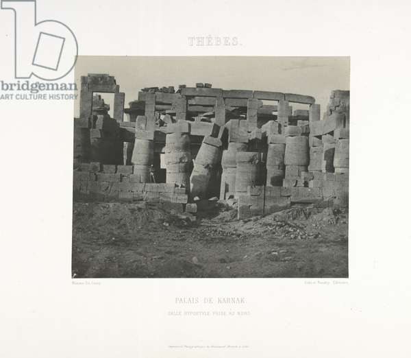 Great Hypostyle Hall, Palace of Karnak, Thebes, 1852 (b/w photo)