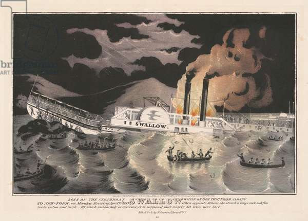 Loss of the Steamboat Swallow, While on her trip from Albany to New York, 1845 (engraving)