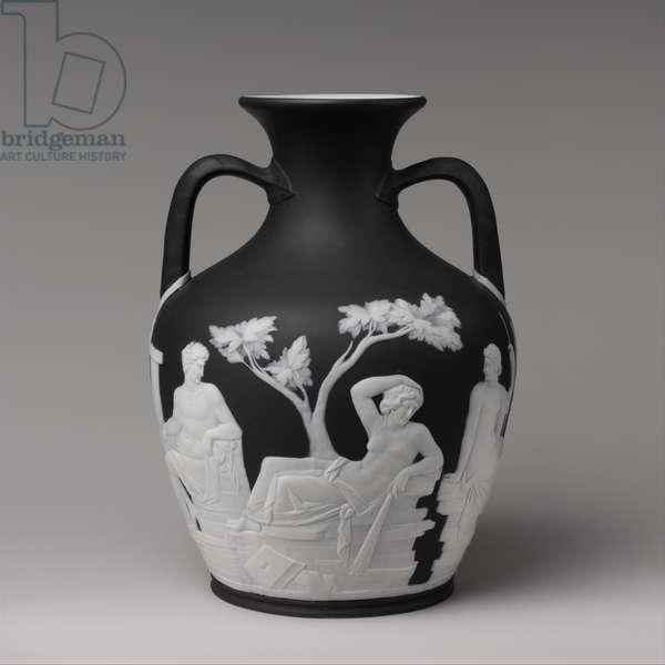Portland vase, c.1840-60 (basalt ware with white relief)