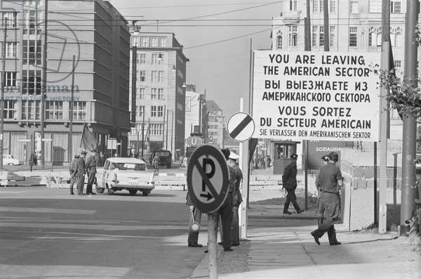 Checkpoint Charlie in West Berlin, 1961 (b/w photo)