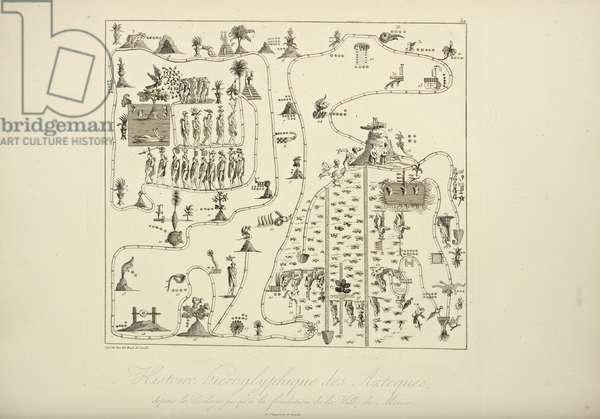 Hieroglyphic History of the Aztecs, from the Flood to the Foundation of the City of Mexico, illustration from 'Vues des Cordillères et Monumens des Peuples Indigènes de l'Amérique' by Alexander von Humboldt and Aime Bonpland, 1813 (engraving)