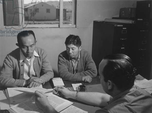 Bunkichi Hayashi, project attorney, Manzanar Relocation Center, 1943 (b/w photo)