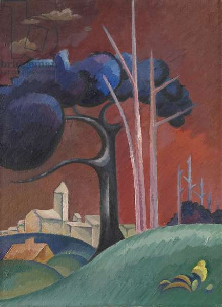 Landscape with Factory by Lake, II, (oil on canvas)