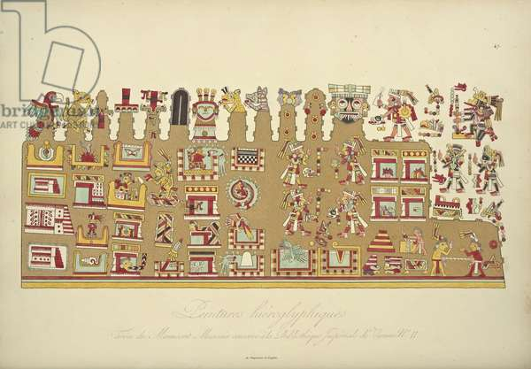 Hieroglyphic Paintings from Mexican Manuscript II, conserved at the Imperial Library of Vienna, illustration from 'Vues des Cordillères et Monumens des Peuples Indigènes de l'Amérique' by Alexander von Humboldt and Aime Bonpland, 1813 (hand-coloured aquatint)