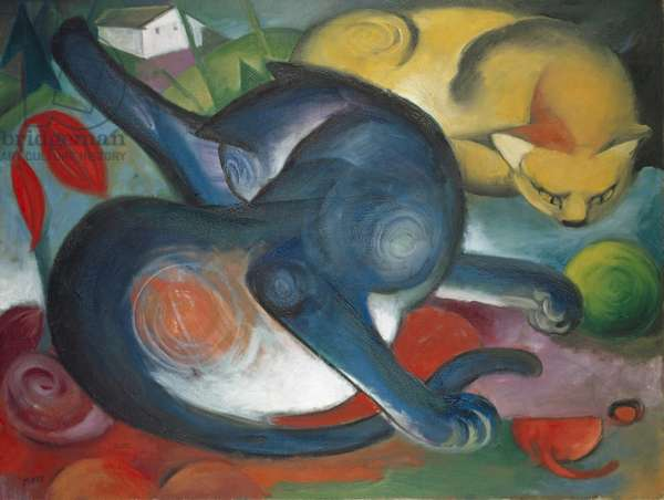 Two Cats, Blue and Yellow, 1912 (oil on canvas)
