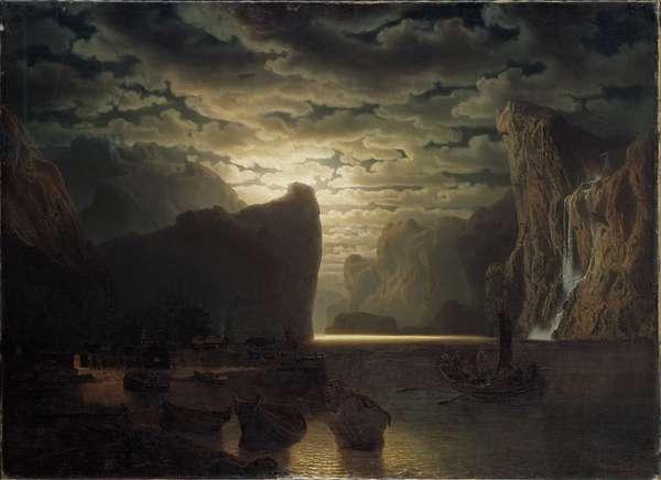 Norwegian Fjord in Moonlight, 1861 (oil on canvas)
