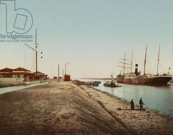 Suez Canal at El Qantara, c.1900 (colour photochrom)