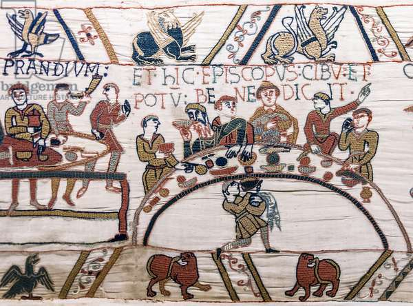 Bishop Odo blesses the food and wine, Bayeux Tapestry (wool embroidery on linen)
