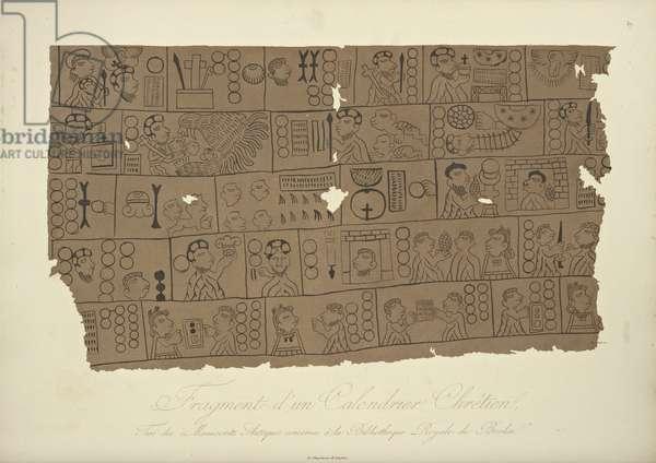 Fragment of a Christian Calendar, drawn from an Aztec manuscript in the Berlin State Library, illustration from 'Vues des Cordillères et Monumens des Peuples Indigènes de l'Amérique' by Alexander von Humboldt and Aime Bonpland, 1813 (colour aquatint)