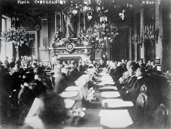 President Poincare gives his opening address to the Peace Conference at the Quai d'Orsay, 1919 (b/w photo)