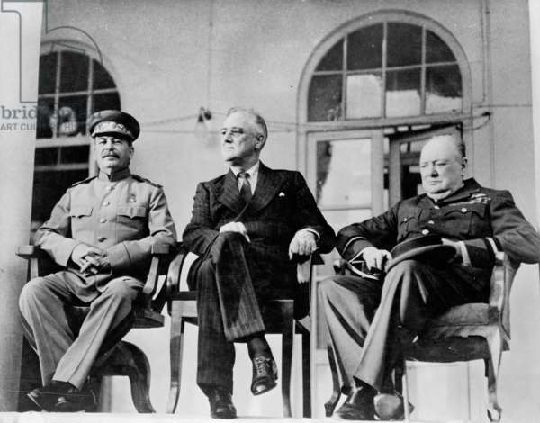 Roosevelt, Stalin, and Churchill at the Teheran conference, 1943 (b/w photo)