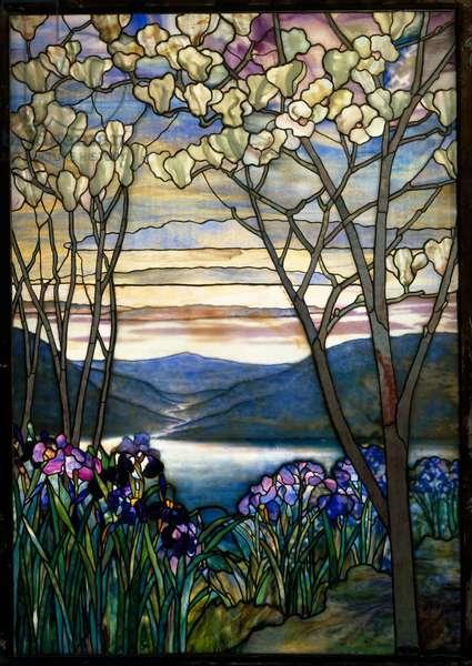 Magnolias and Irises, c.1908 (leaded Favrile glass)