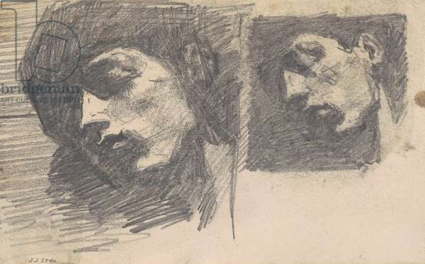 Two Heads, 1875-80 (graphite on wove paper)