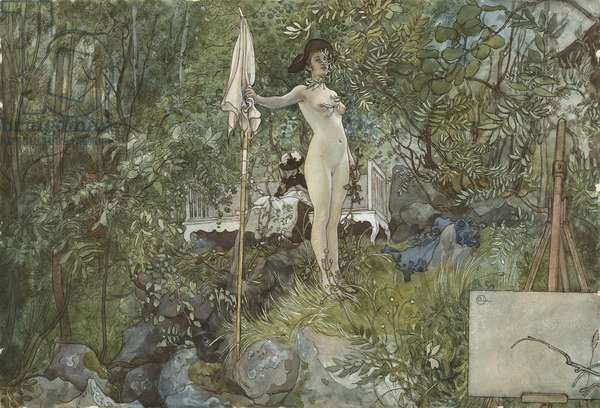 Open-Air Studio, from 'A Home' series, c.1895 (w/c on paper)