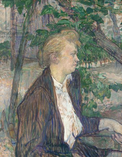 Woman seated in a Garden, 1891 (oil on millboard)