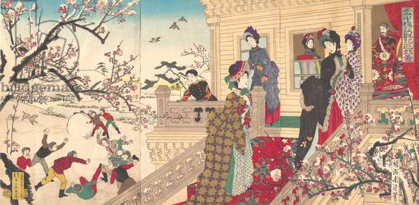 Children Playing in the Snow under Plum Trees in Bloom, 1887 (woodblock print)