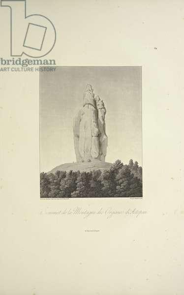 Summit of the Mountain of Organos, Actopan, engraved by Bouquet, illustration from 'Vues des Cordillères et Monumens des Peuples Indigènes de l'Amérique' by Alexander von Humboldt and Aime Bonpland, 1813 (hand-coloured aquatint)