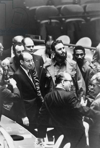 Fidel Castro at a meeting of the United Nations General Assembly, 1960 (b/w photo)