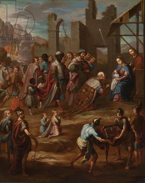The Adoration of the Kings with Viceroy Pedro de Castro y Figueroa, Duke of La Conquista (La adoración de los reyes con el virrey Pedro de Castro y Figueroa, duque de La Conquista), 1741 (oil on copper)