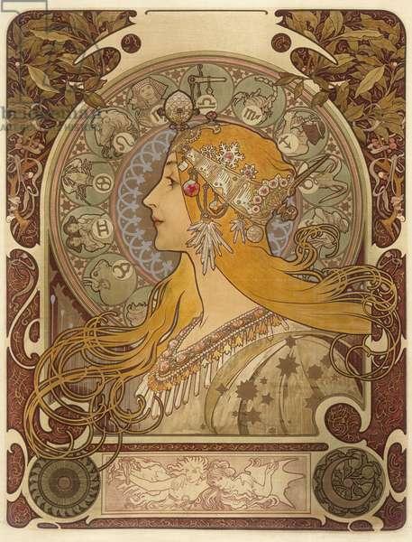 Zodiac, 1896 (colour litho)