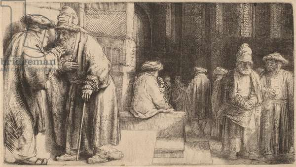 Jews in the Synagogue, 1648 (etching)