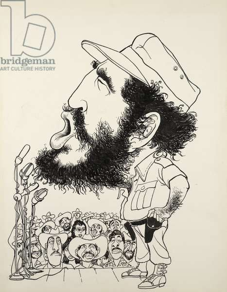 Fidel Castro, c.1960-70 (ink on board)