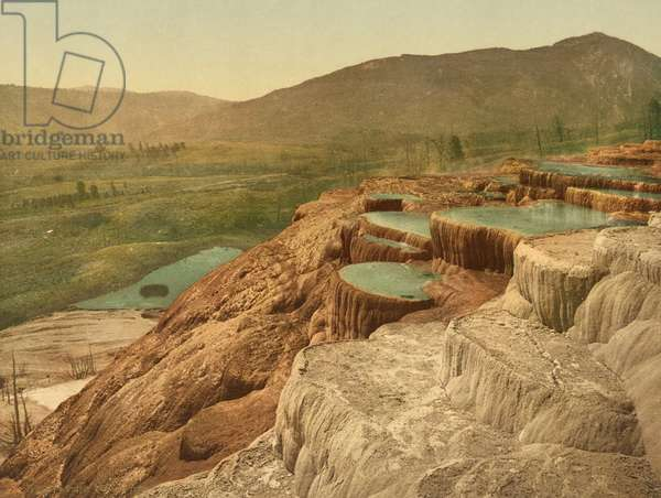 Pulpit Terraces from above, Yellowstone National Park, c.1898 (photochrom)