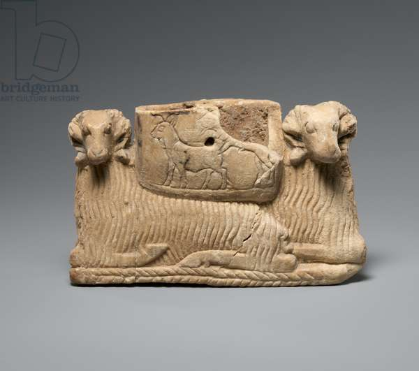 Vessel supported by two rams, c. 2600–2500 BC (gypsum alabaster)