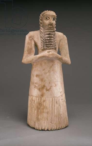Standing Male Worshiper, Early Dynastic, c.2900-2600 B.C. (gypsum alabaster, shell, black limestone, bitumen)