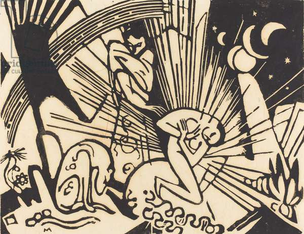Reconciliation (Versoehnung), 1912 (woodcut in black on japan paper)